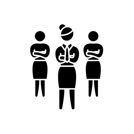 Women in business black icon, concept vector sign on isolated background. Women in business illustration, symbol
