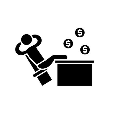 Icône noire de gestionnaire riche, signe de vecteur de concept sur fond isolé. Illustration de gestionnaire riche, symbole Vecteurs