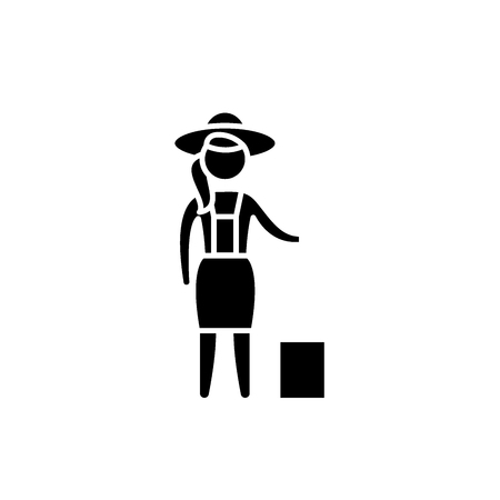 Woman farmer black icon, concept vector sign on isolated background. Woman farmer illustration, symbol Illustration