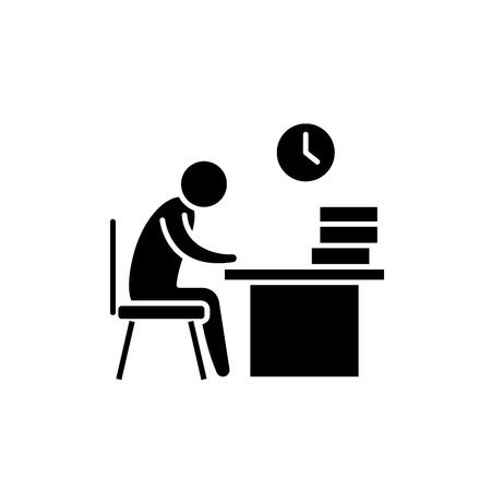 Working day black icon, concept vector sign on isolated background. Working day illustration, symbol