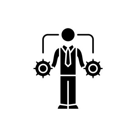 Business-Entscheidungsfindung schwarzes Symbol, Konzept-Vektor-Zeichen auf isoliertem Hintergrund. Geschäftsentscheidungsillustration, Symbol