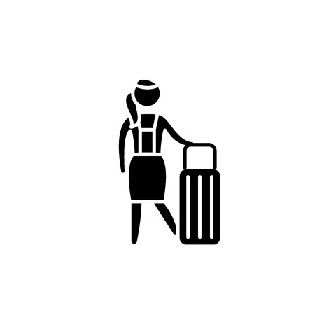 Women's travel black icon, concept vector sign on isolated background. Women's travel illustration, symbol