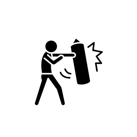 Punchbag black icon, concept vector sign on isolated background. Punchbag illustration, symbol