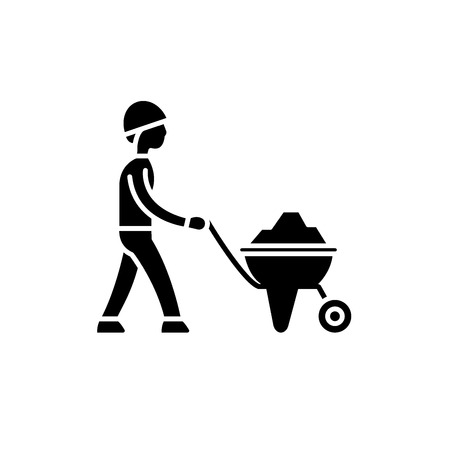 Construction works black icon, concept vector sign on isolated background. Construction works illustration, symbol