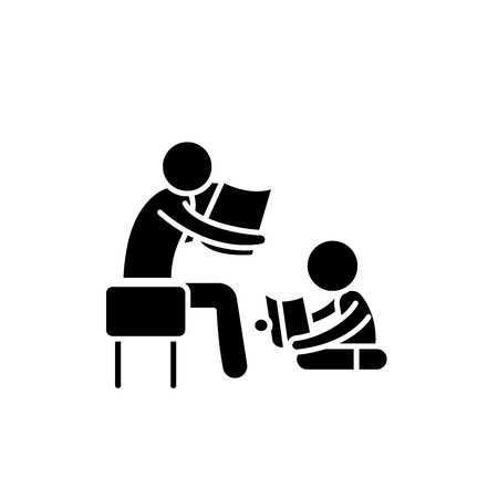 Parent reading a story to a child black icon, concept vector sign on isolated background. Parent reading a story to a child illustration, symbol