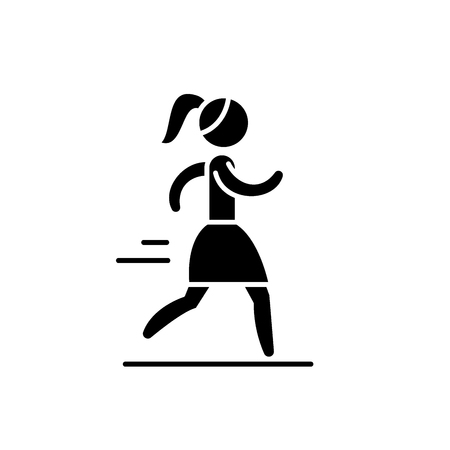 Woman running black icon, concept vector sign on isolated background. Woman running illustration, symbol Illustration