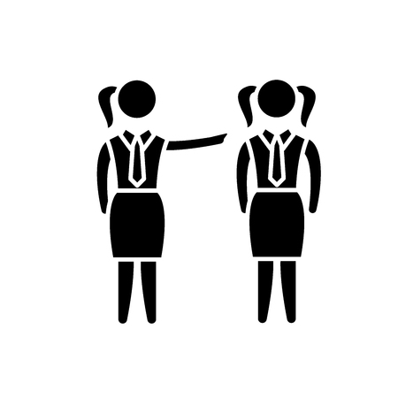 Female mentoring black icon, concept vector sign on isolated background. Female mentoring illustration, symbol