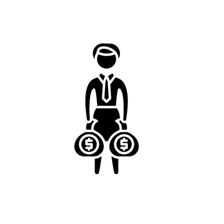 Rich business woman black icon, concept vector sign on isolated background. Rich business woman illustration, symbol Standard-Bild - 127267028