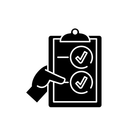 Voting black icon, concept vector sign on isolated background. Voting illustration, symbol