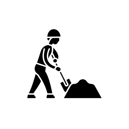 Earthworks black icon, concept vector sign on isolated background. Earthworks illustration, symbol