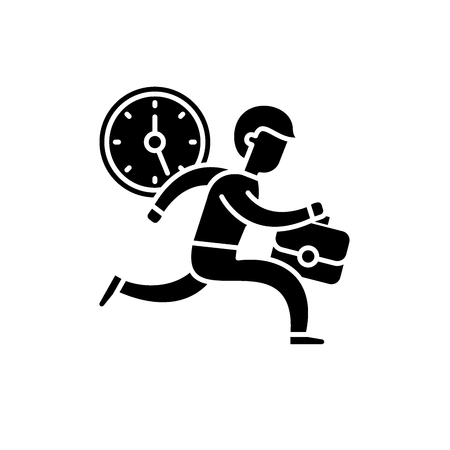 Icône noire de gestion du temps, signe de vecteur de concept sur fond isolé. Illustration de la gestion du temps, symbole