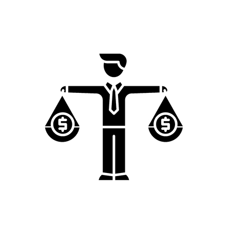Financial investments black icon, concept vector sign on isolated background. Financial investments illustration, symbol