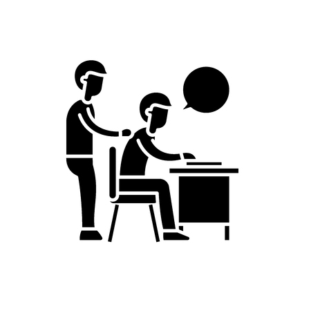 Delegation of work black icon, concept vector sign on isolated background. Delegation of work illustration, symbol