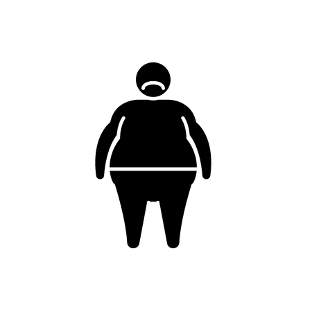 Fat person black icon, concept vector sign on isolated background. Fat person illustration, symbol 写真素材 - 127267039