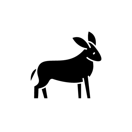 Donkey black icon, concept vector sign on isolated background. Donkey illustration, symbol Illustration
