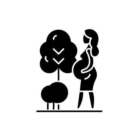 Pregnant woman black icon, concept vector sign on isolated background. Pregnant woman illustration, symbol