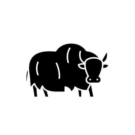 Yak black icon, concept vector sign on isolated background. Yak illustration, symbol