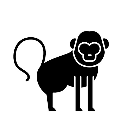 Baboon black icon, concept vector sign on isolated background. Baboon illustration, symbol Stock Illustratie