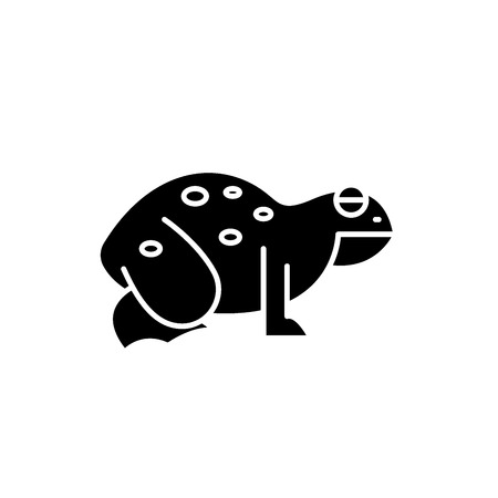 Frog black icon, concept vector sign on isolated background. Frog illustration, symbol