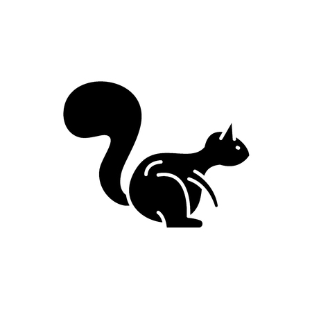 Squirrel black icon, concept vector sign on isolated background. Squirrel illustration, symbol Foto de archivo - 113531368
