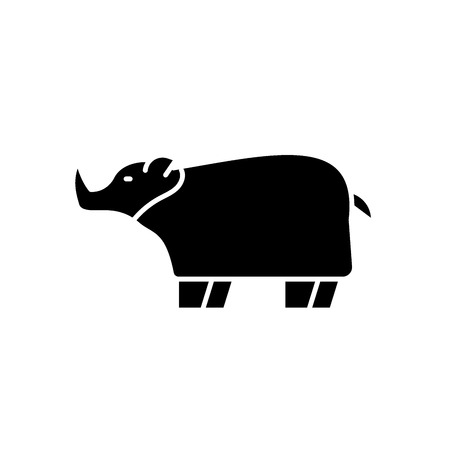 Rhinoceros black icon, concept vector sign on isolated background. Rhinoceros illustration, symbol