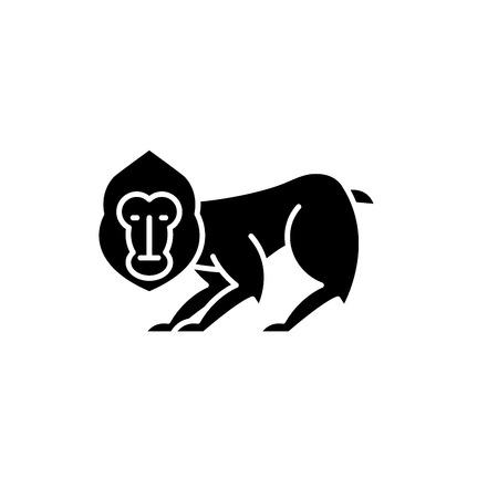 Schimpanse schwarzes Symbol, Konzeptvektorzeichen auf isoliertem Hintergrund. Schimpanse Illustration, Symbol Vektorgrafik