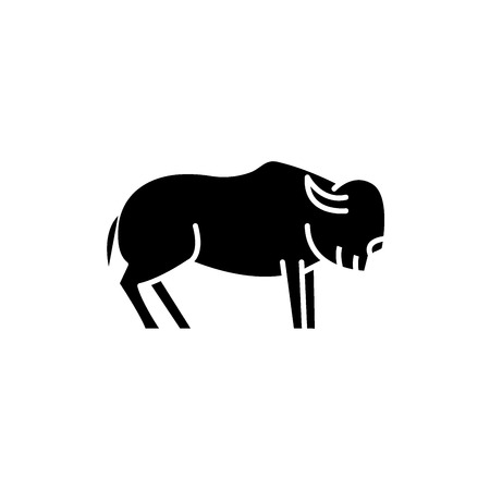 Musk ox black icon, concept vector sign on isolated background. Musk ox illustration, symbol Illustration