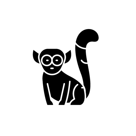 Lemur black icon, concept vector sign on isolated background. Lemur illustration, symbol