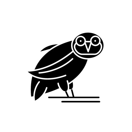 Owl black icon, concept vector sign on isolated background. Owl illustration, symbol Illustration