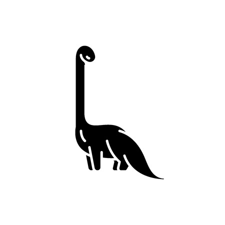 Diplodocus black icon, concept vector sign on isolated background. Diplodocus illustration, symbol