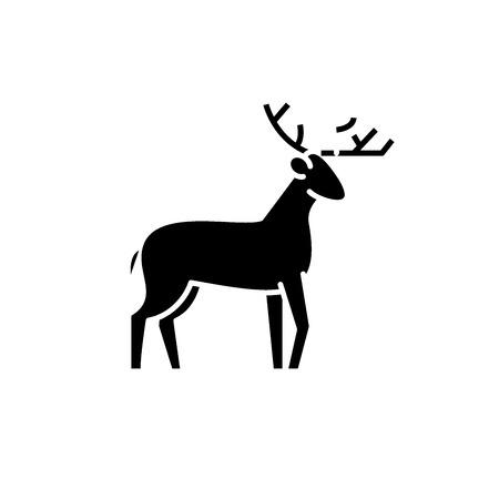 Forest deer black icon, concept vector sign on isolated background. Forest deer illustration, symbol
