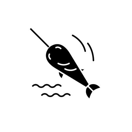 Swordfish black icon, concept vector sign on isolated background. Swordfish illustration, symbol Illustration