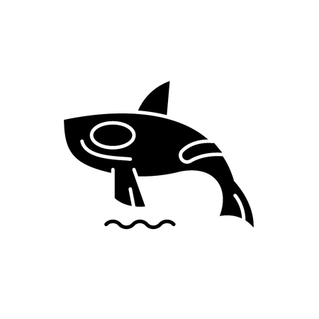 Shark killer whale black icon, concept vector sign on isolated background. Shark killer whale illustration, symbol
