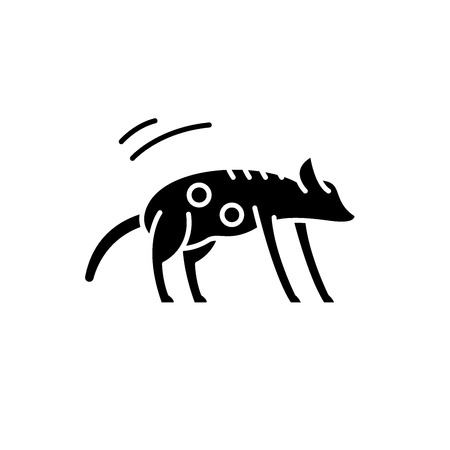 Hyena black icon, concept vector sign on isolated background. Hyena illustration, symbol