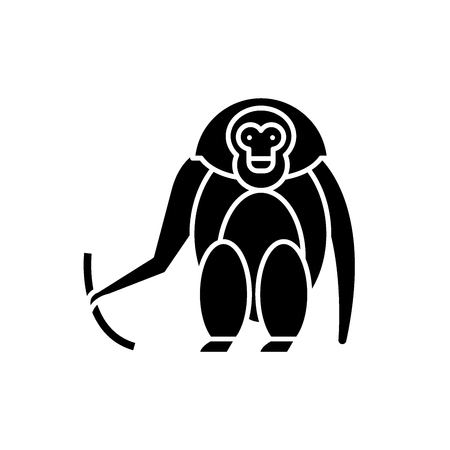 Monkey black icon, concept vector sign on isolated background. Monkey illustration, symbol Illustration
