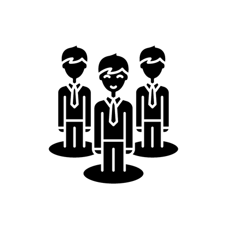 Remote office team black icon, concept vector sign on isolated background. Remote office team illustration, symbol