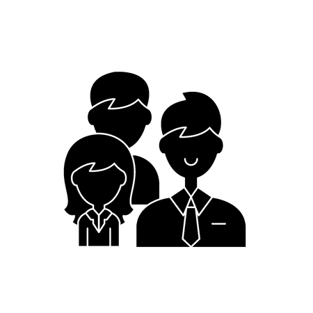 Group leadership black icon, concept vector sign on isolated background. Group leadership illustration, symbol