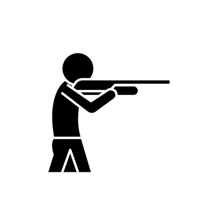 Shooting a gun black icon, concept vector sign on isolated background. Shooting a gun illustration, symbol