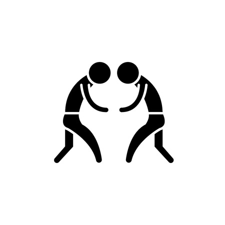 Wrestling black icon, concept vector sign on isolated background. Wrestling illustration, symbol Illusztráció