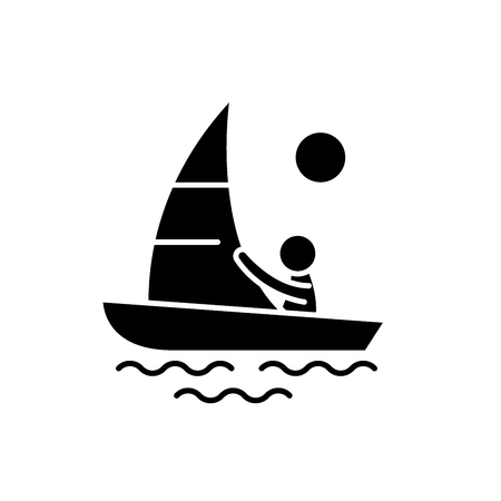 Yachting black icon, concept vector sign on isolated background. Yachting illustration, symbol