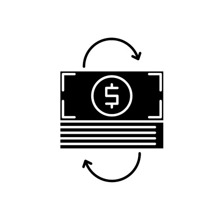 Refinancing black icon, concept vector sign on isolated background. Refinancing illustration, symbol 일러스트