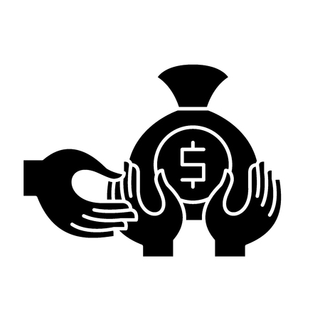 Financial fraud black icon, concept vector sign on isolated background. Financial fraud illustration, symbol