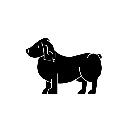 Spaniel black icon, concept vector sign on isolated background. Spaniel illustration, symbol Illustration