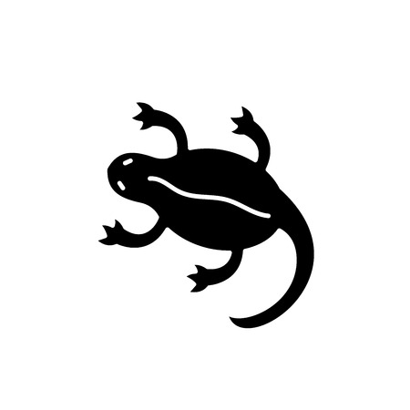 Lizard black icon, concept vector sign on isolated background. Lizard illustration, symbol  イラスト・ベクター素材