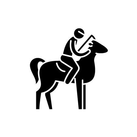 Horseback riding black icon, concept vector sign on isolated background. Horseback riding illustration, symbol
