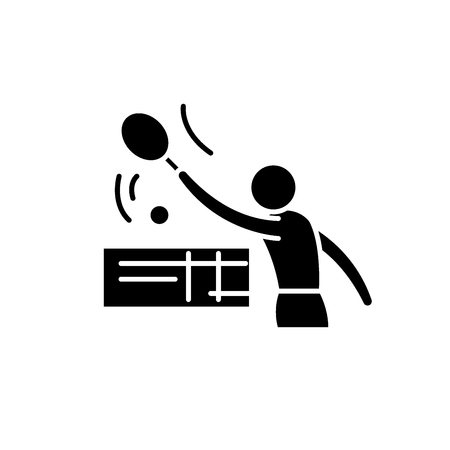 Tenis black icon, concept vector sign on isolated background. Tenis illustration, symbol Illustration