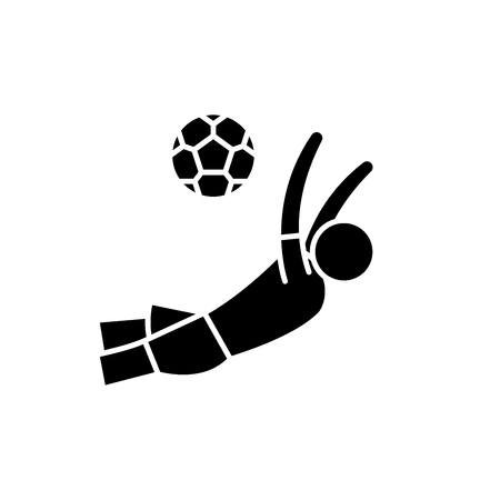Score a goal in football black icon, concept vector sign on isolated background. Score a goal in football illustration, symbol