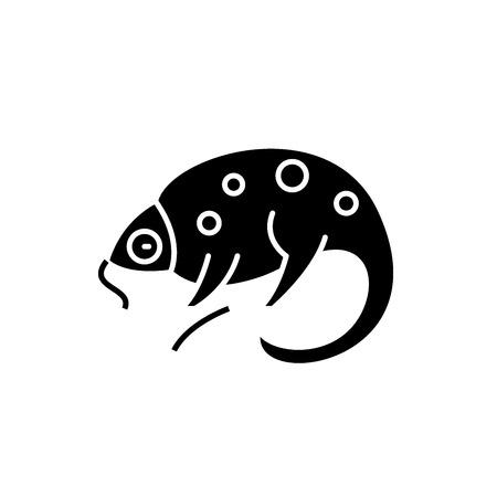 Chameleon black icon, concept vector sign on isolated background. Chameleon illustration, symbol