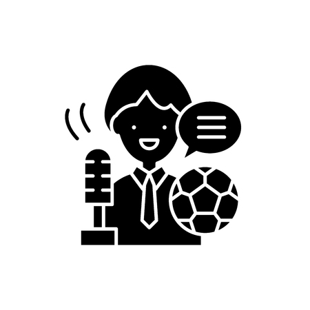 Sports commentator black icon, concept vector sign on isolated background. Sports commentator illustration, symbol