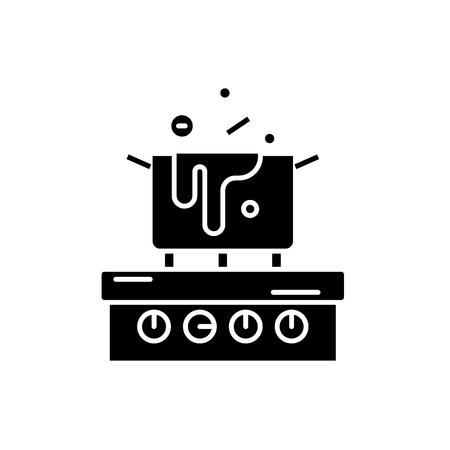 Cooking in the kitchen black icon, concept vector sign on isolated background. Cooking in the kitchen illustration, symbol Illustration